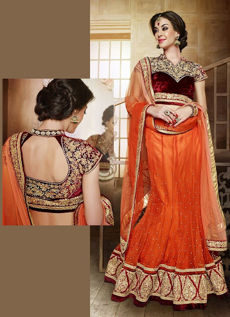 Resham Work Orange Net Embroidered Lehenga With Velvet Choli