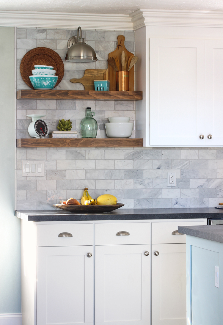 The craft patch how to install floating kitchen shelves over a diy floating shelves dailygadgetfo Choice Image