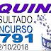 Resultado da Quina concurso 4791 (02/10/2018) ACUMULOU!!!