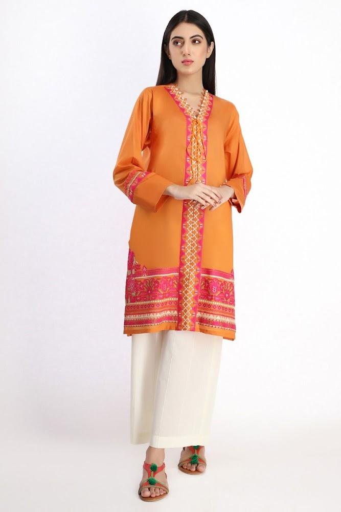Khaadi Embroidered Kurta Orange Color