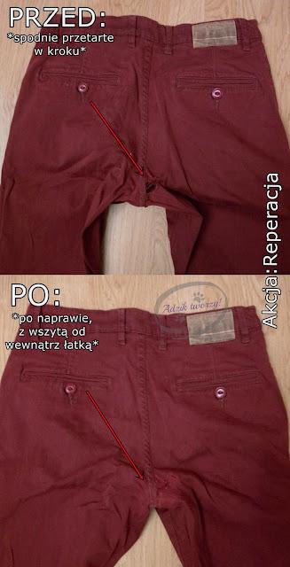spodnie przetarte w kroku jak naprawić DIY - Akcja:Reperacja u Adzika