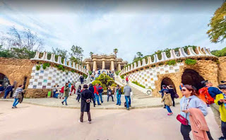 The Park Güell is a public park in Barcelona