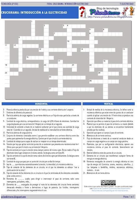 Ficha electricidad: crucigrama definiciones