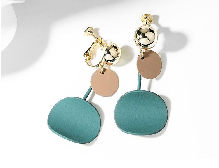 綠咖雙色幾何耳環 (針式,夾式)