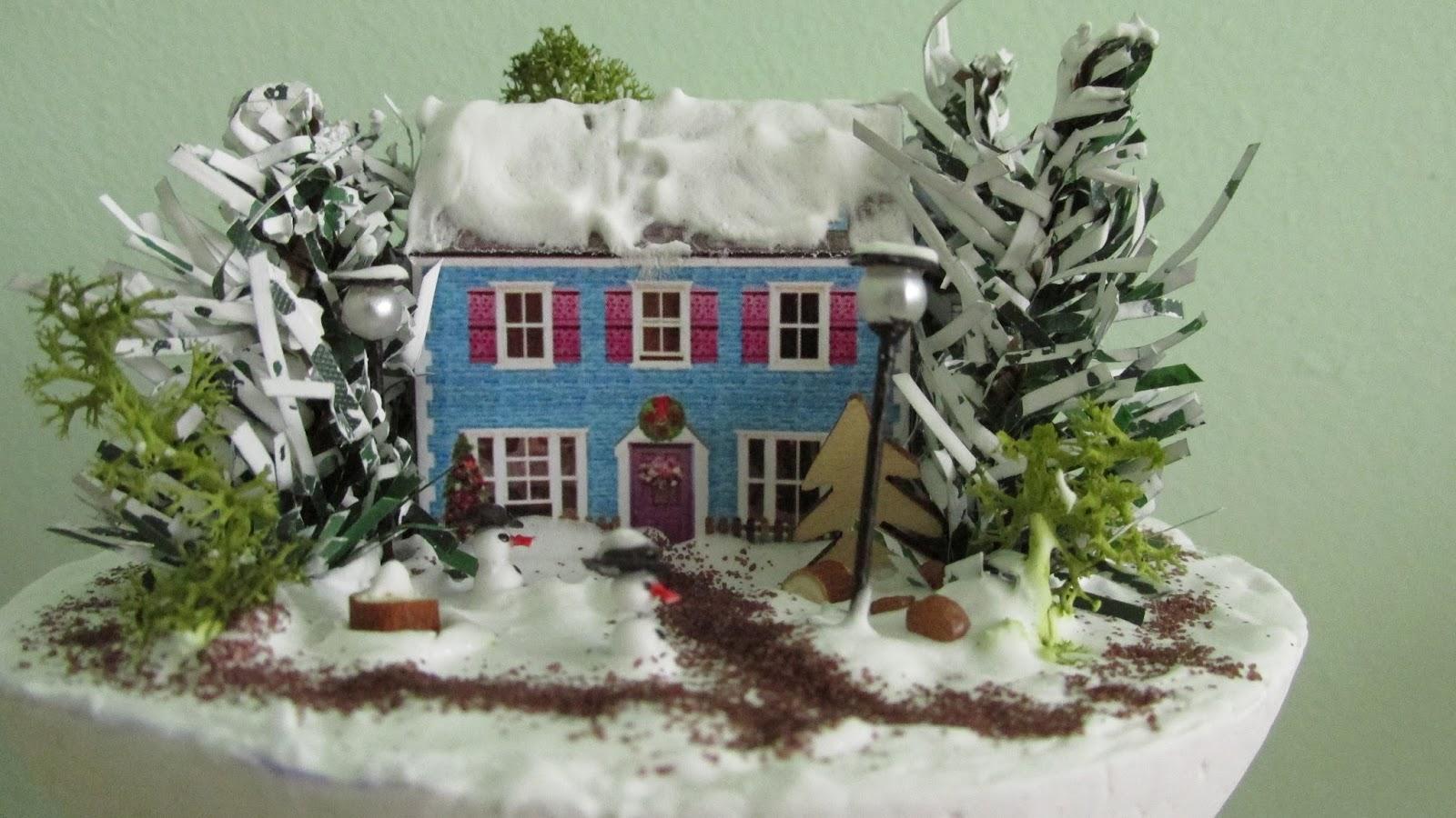 Kamienica, śnieg, choinka, Boże Narodzenie