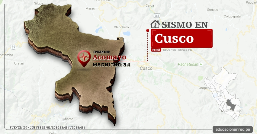 Temblor en Cusco de Magnitud 3.4 (Hoy Jueves 23 Enero 2020) Sismo - Epicentro - Acomayo - IGP - www.igp.gob.pe