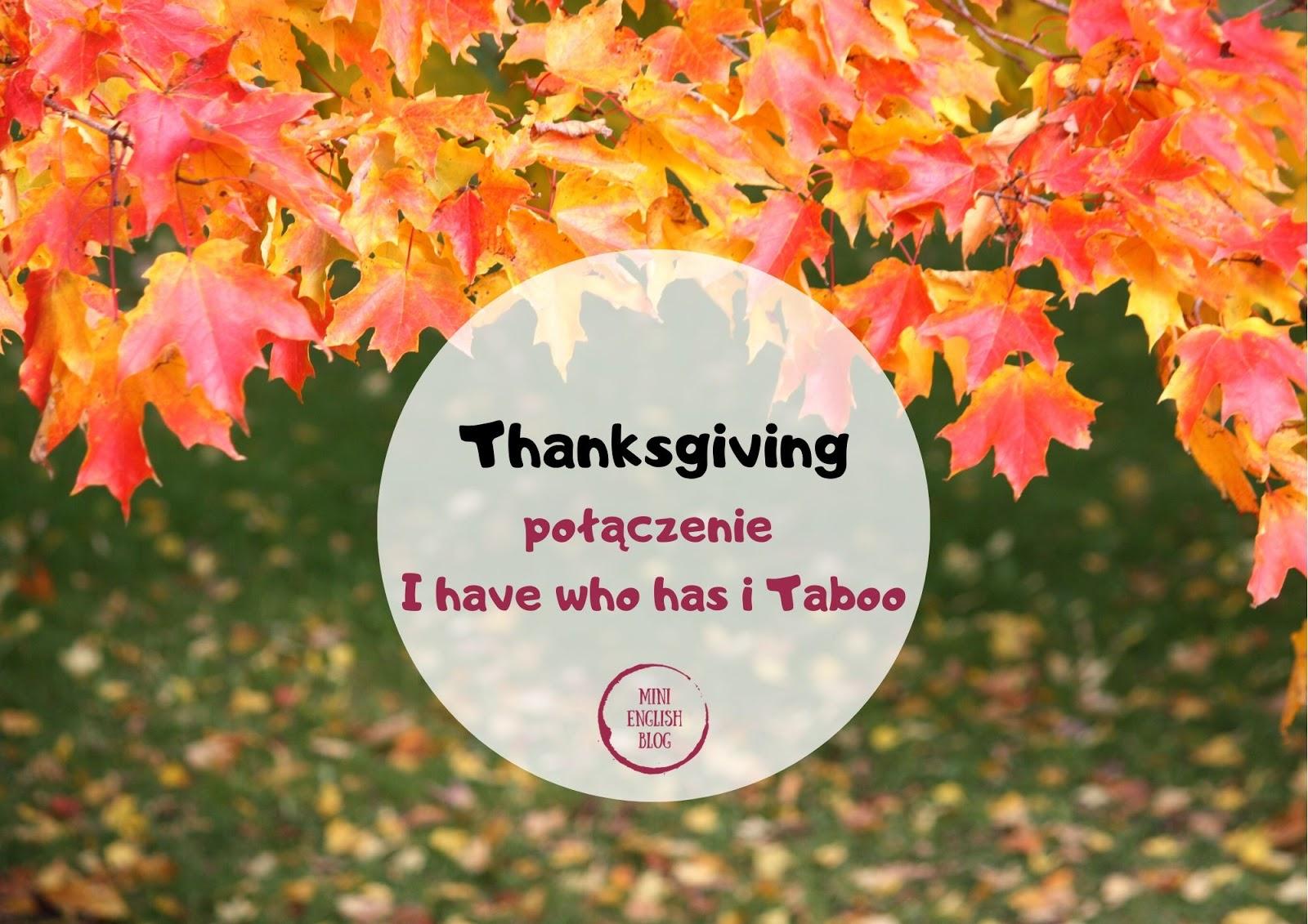 Thanksgiving - połączenie I have who has i Taboo