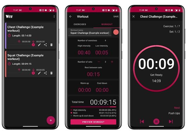 تطبيق مميز   Workout Interval Timer لإدارة التدريبات المتقطعة مع مدرب صوتي للتحفيز