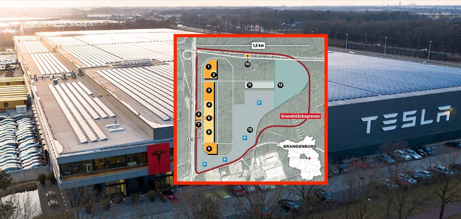 mapa Gigafactory berlin
