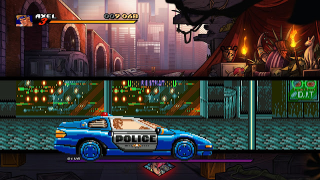 Screenshot of Streets of Rage 1 police car in Streets of Rage 4