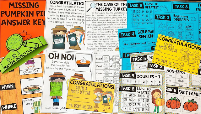 Solve the Mystery Activities provide an engaging experience in the classroom while you review skills that have been taught. Students will work in groups to complete 9 different math and language arts task cards. Once they solve them correctly, they will receive a clue to the mystery. When they have all of the clues they can find out the who, the when, and the where, by process of elimination. The short little video introduces the challenge and gets them geared up for the amazing learning adventure.