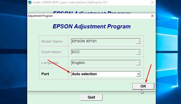 Reset Epson Xp701