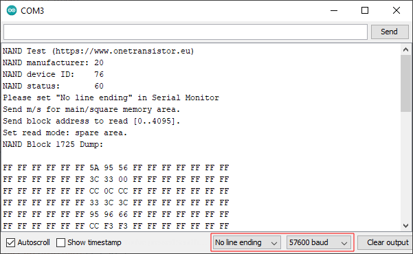 Interactive sketch for dumping NAND contents to serial output