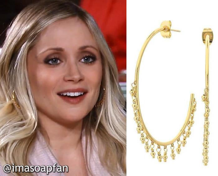 Lulu Spencer Falconeri, Emme Rylan, Gold Hoop Earrings with Fringe Beads, Gorjana, GH, General Hospital