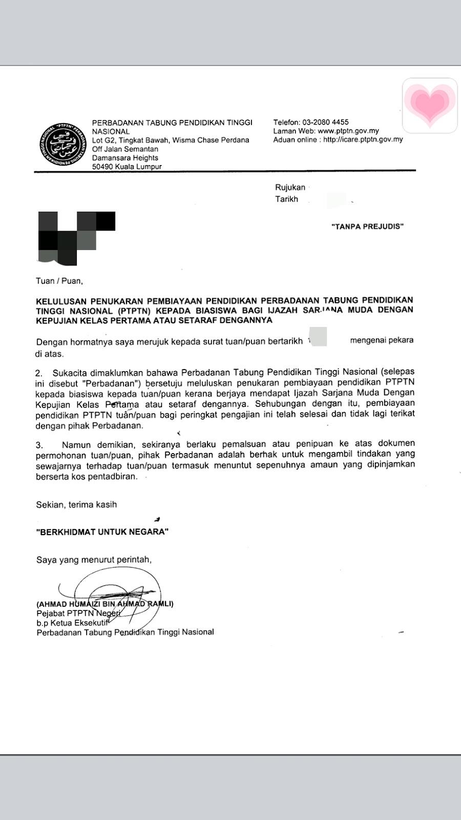 application letter for ptptn exemption
