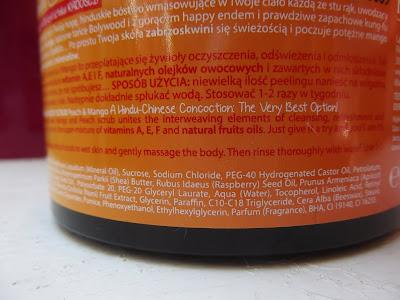 Cukrový telový peeling Farmona Tutti Frutti Peach & Mango  ingredients