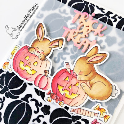 Trick or Treat Bunnies Card by Samantha Mann for Newton's Nook Designs, Halloween, Cards, Card Making, Stencil, Flock, Transfer Duo Gel, Deco Foil, Bunnies, #newtonsnook #newtonsnookdesigns #halloween #halloweencard #cardmaking #flock #decofoil #stencil #pumpkinpatch