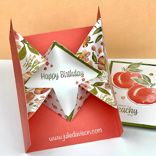 Stampin' Up! You're a Peach Designer Paper Explosion Card ~ Sweet as a Peach ~ www.juliedavison.com #stampinup