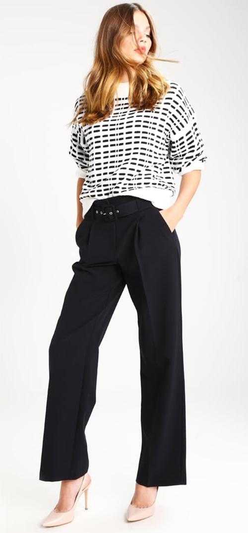 Pantalon femme ample bootcut taille haute élégant noir Dorothy Perkins
