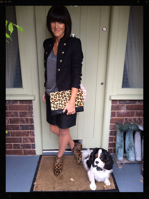My Midlife Fashion, Mango Buttoned Jacket, Military Jacket, Leopard Print, Animal Print, Boden Joni Boots, Leather A Line Skirt, Zara, Grey marl t shirt