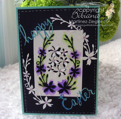 dies as stencils color with watercolors front black card