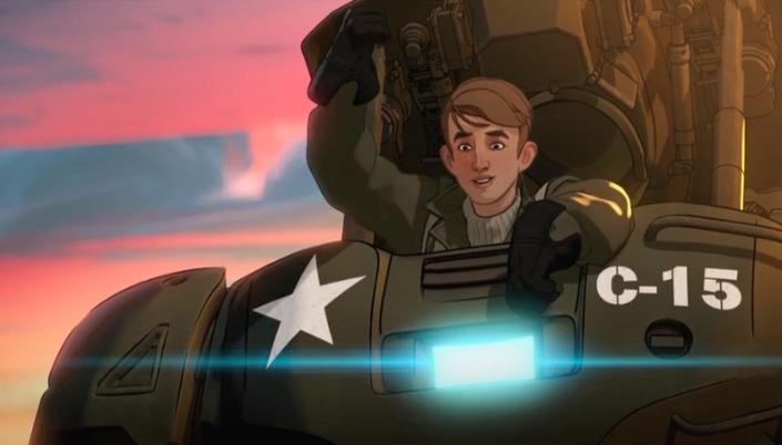 Imagem: o jovem Steve Rogers, um homem pequeno e magro, loiro, dentro de um traje mecânico enorme e cor verde-escura, como um tipo de robô e proto-Homem de Ferro.