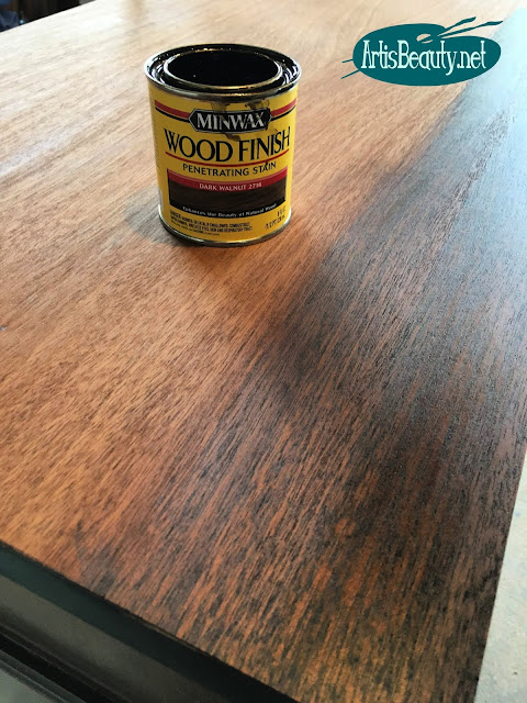 Minwax mahogany dark walnut stain for vintage bow front buffet makeover