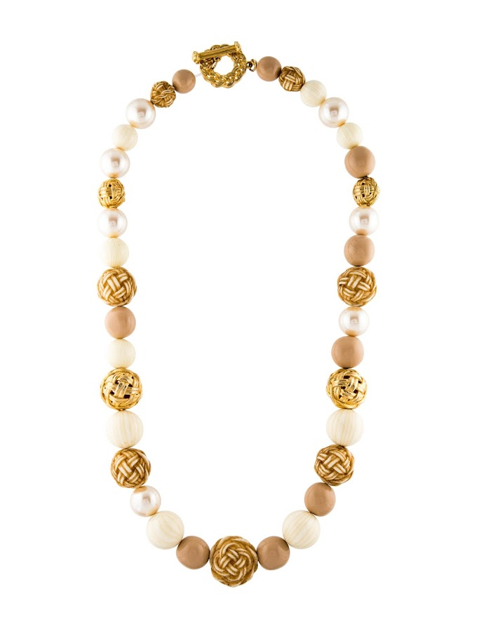 Faux Pearl and Resin Givenchy Beaded Necklace with Cord Throughout and Gold-Tone Toggle Closure