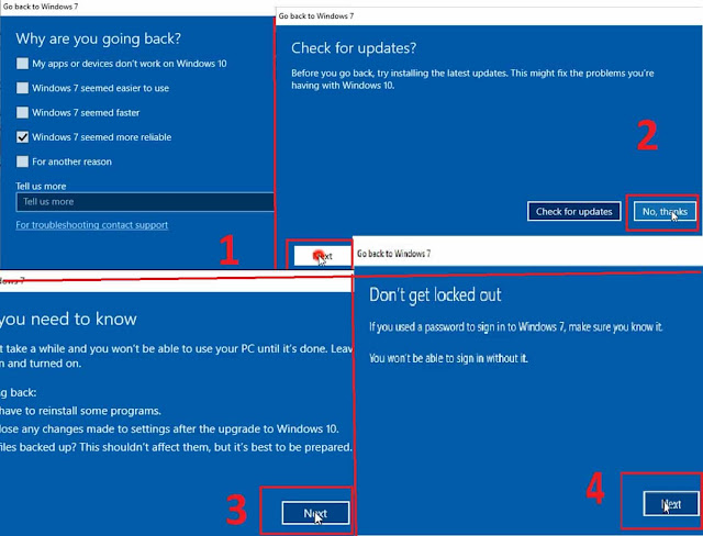 الرجوع إلى ويندوز 7 و 8 بعد الترقية إلى ويندوز 10 دون فورمات Downgrade From Windows 10 to Windows 7