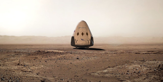 Artist's rendering of a Red Dragon spacecraft on Mars. Credit: SpaceX
