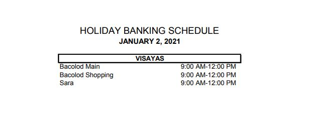 RCBC bank schedule January 2, 2021