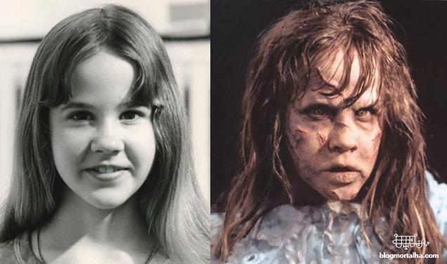 À esquerda Linda Blair, atriz que protagonizou Regan MacNeil à direita, no filme O Exorcista.