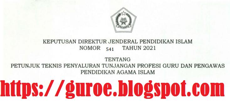 Kepdirjen Pendis Nomor 541 Tahun 2021 Tentang Juknis Penyaluran TPG Guru Dan Pengawas PAI Tahun 2021