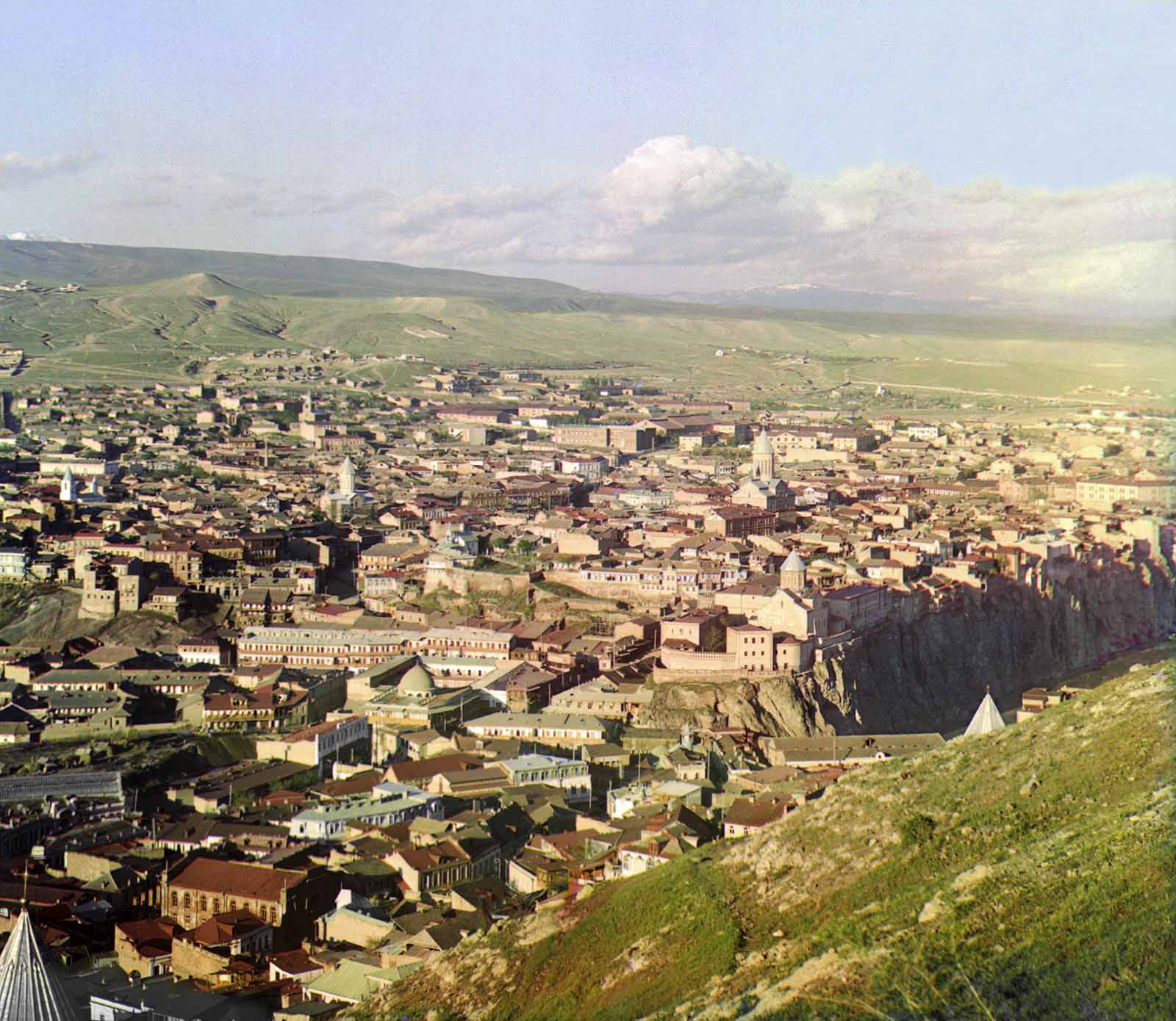 View of Tiflis (Tblisi), Georgia from the grounds of Saint David Church, ca. 1910.