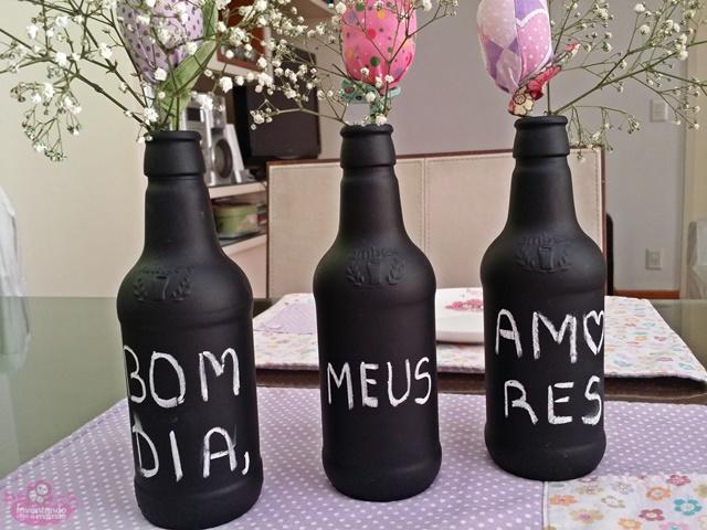 Como fazer Pintura em garrafas com tinta lousa