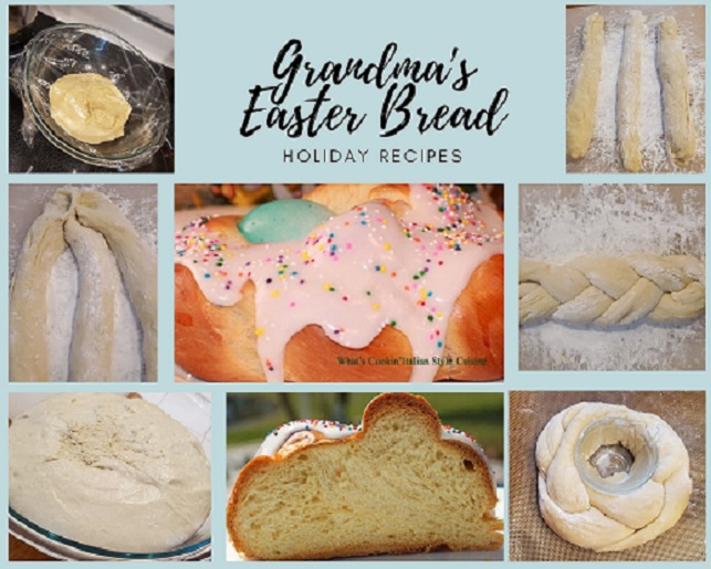 this is collage of photos on how to make Easter Bread