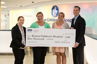 Photo Left to right: (L to R)- Kaitlyn Pintarich, President of Berry Insurance; Megan Leibovitz, Child Life Specialist at Boston Children's Hospital; Lauren Wilson, Child Life Specialist at Boston Children's Hospital and Christopher Pintarich, Vice President of Berry Insurance.