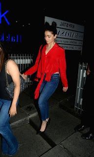Alia Bhatt in Red Shirt and Denim Jeans