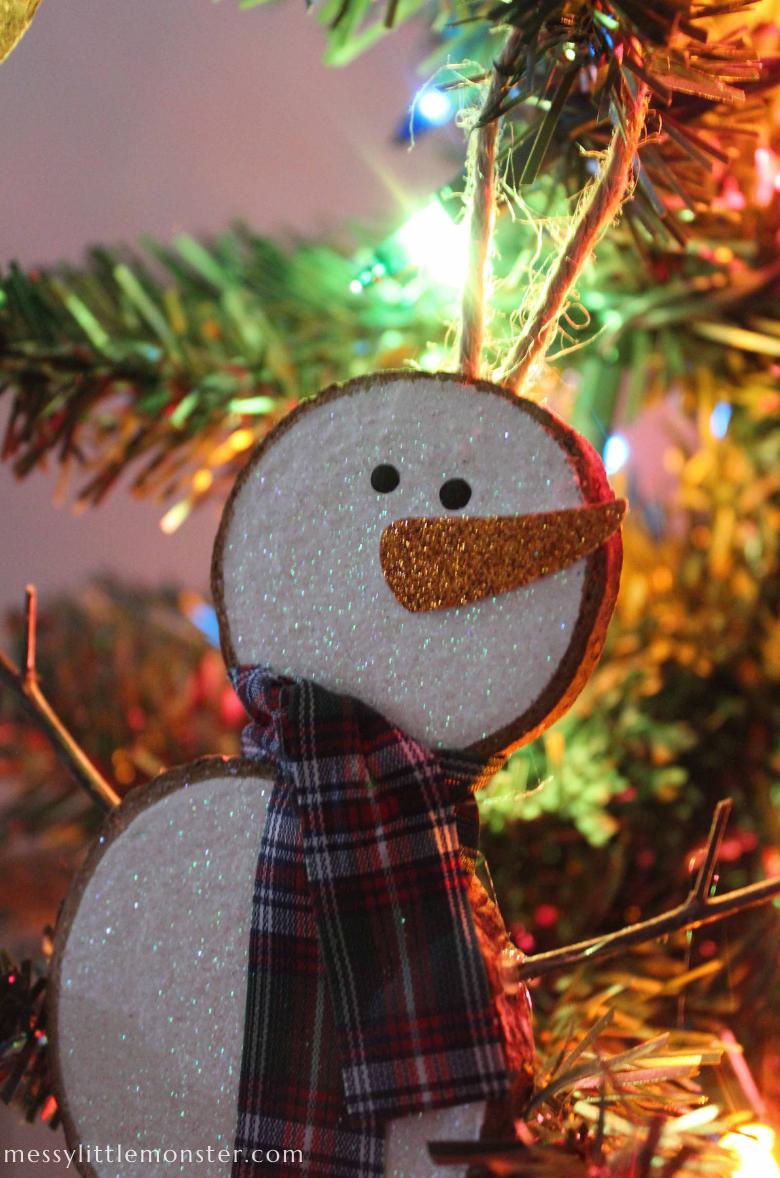 snowman wood slice Christmas ornament craft