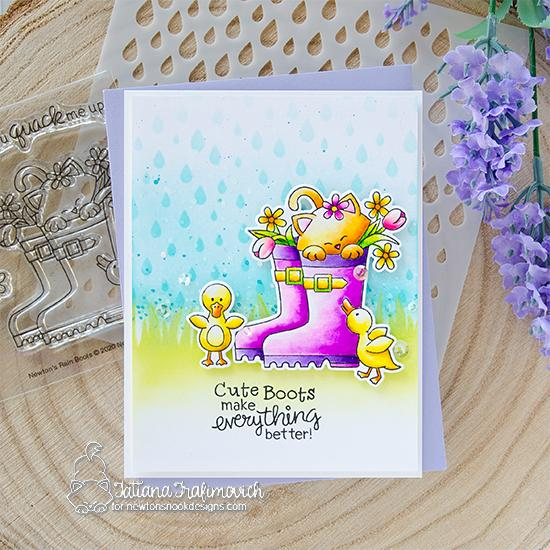 Spring kitty in Rain boots Card by Tatiana Trafimovich | Newton's Rain Boots Stamp Set, Raindrops Stencil, and Hills & Grass Stencil by Newton's Nook Designs #newtonsnook #handmade