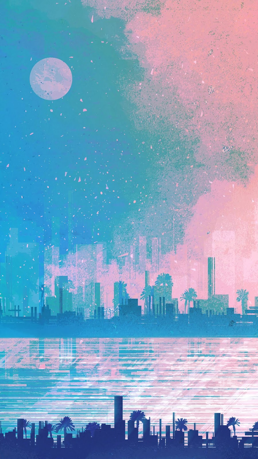 glitch city wallpaper cityscape