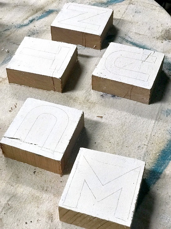 DIY Farmhouse Style Rustic Letter Blocks for the mantel