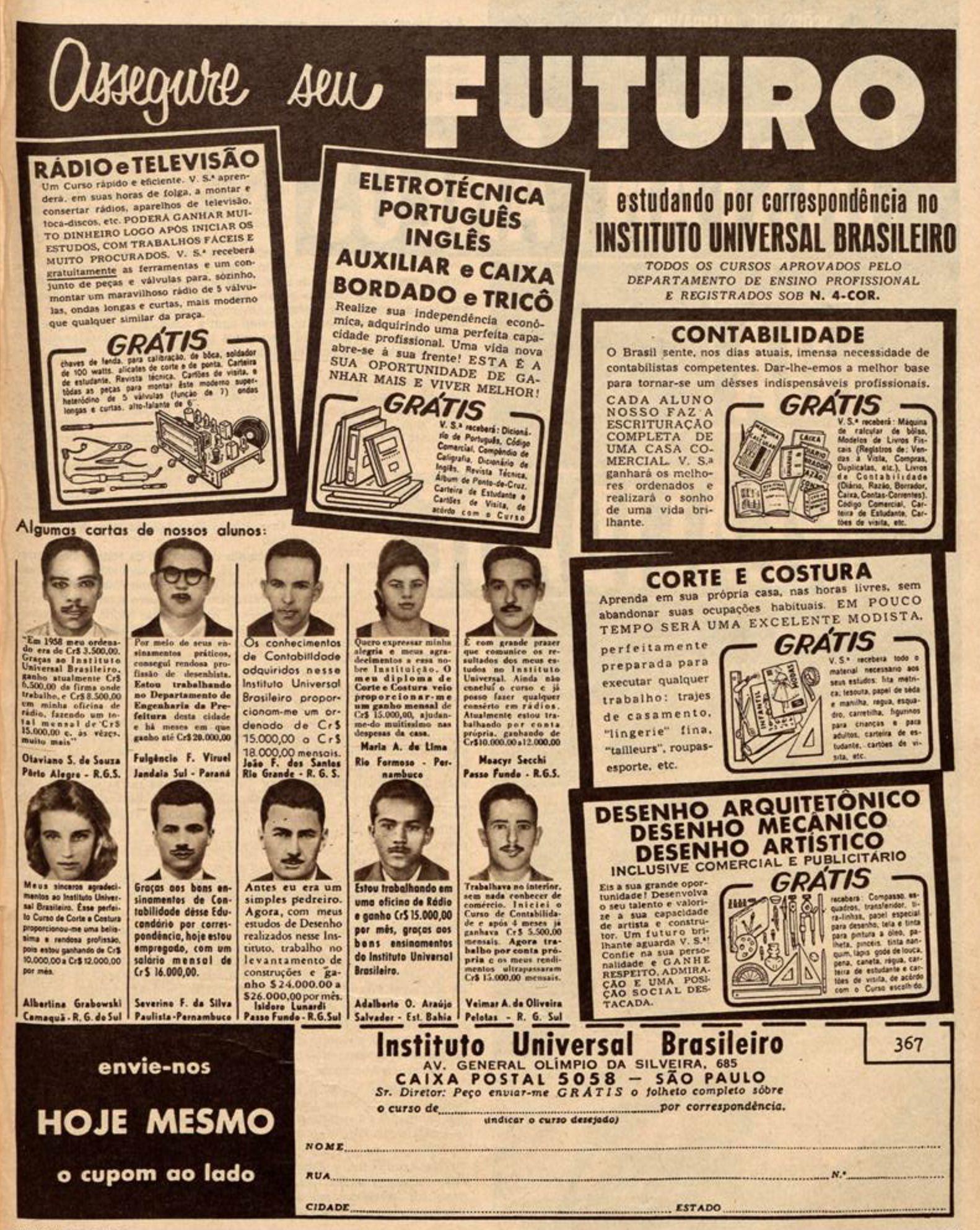 Anúncio antigo Instituto Universal Brasileiro com várias opções de cursos em 1960