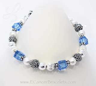 Prostate Ribbon Bracelets - Light Blue Ribbon Charm Bracelets
