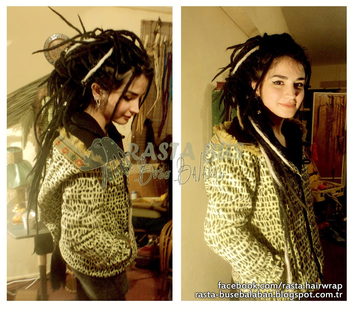 ekli dreadlock rasta (black and white)extensions dreadlock rasta