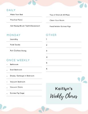 Chore list for kids