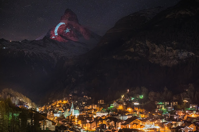 Turkish flag on top of the Swiss Alps!