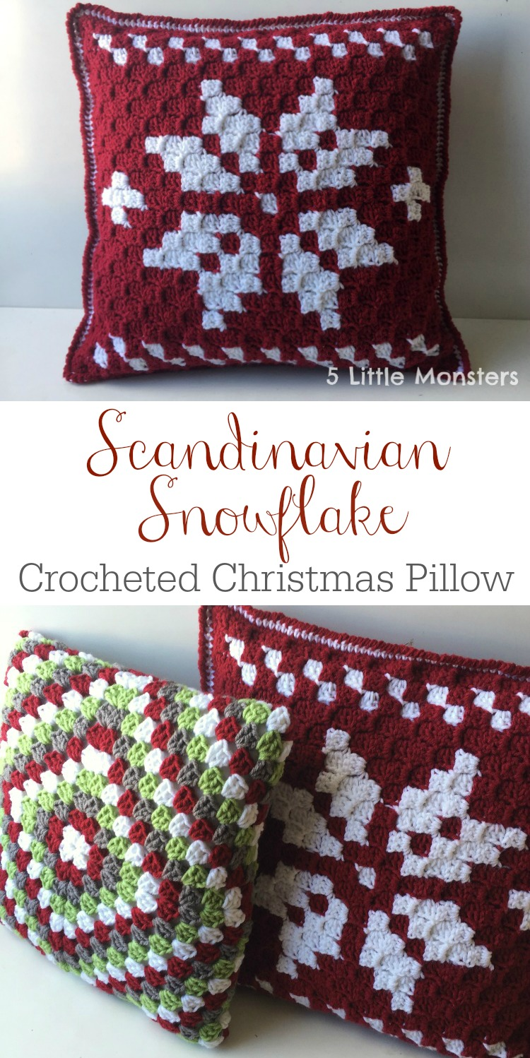 Scandinavian Christmas Pillow : 5 Little Monsters: Scandinavian Snowflake Christmas Pillow