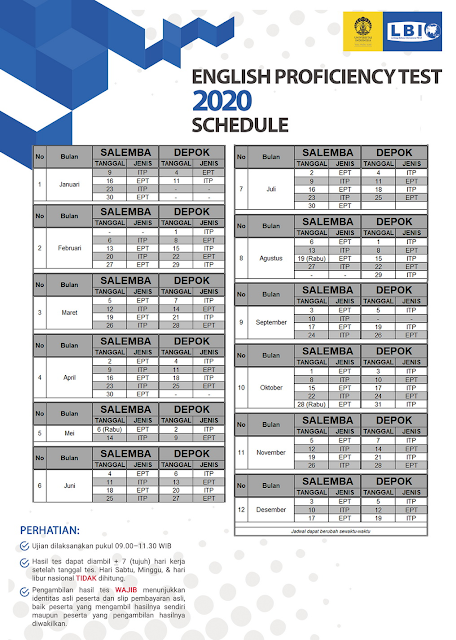 Jadwal Tes Toefl ITP LBI UI 2020