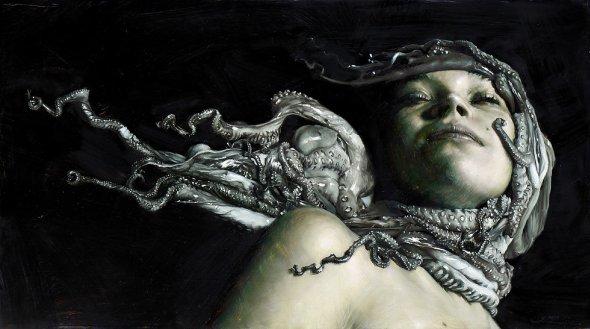Victor Grasso pinturas a óleo hiper-realistas surreais fantasia frutos do mar sombrio clássico renascentista